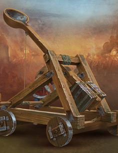 Catapult Fantasy Weapons, Fantasy Rpg, Medieval Fantasy, Ancient Roman Clothing, Model Castle, Weapon Of Mass Destruction, Medieval World, Girl Scout Crafts, Fantasy Castle