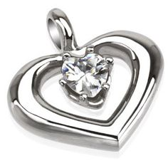 Passion - Heart Shaped Craftsmanship Beauty Stainless Steel Love Pendant with Cubic Zirconia.