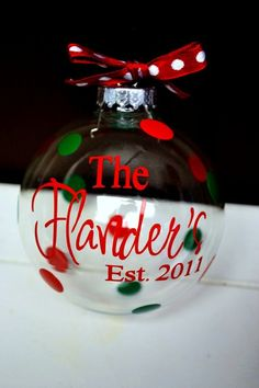 Personalized Clear Glass Christmas Ornament for favors