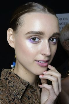 NYFW Beauty: Bold and Fearless Color Backstage at Mara Hoffman - I like the hint of eyeshadow under the eyes