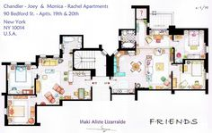 Awesome sitcom floorplans : Friends