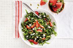 Swiss Chard, Strawberry and Feta Salad— net carb/serving can be lower with sugar-free honey, maple syrup or other sweetener. Make Ahead Salads, Easy Salads, Summer Salads, Appetizer Recipes, Salad Recipes, Healthy Recipes, Fodmap Recipes, Delicious Recipes