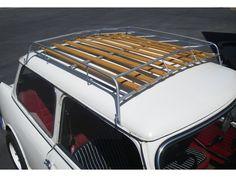 Want one for my mini cooper Mini Cooper Classic, Mini Cooper S, Classic Mini, Classic Cars, Van Roof Racks, Car Racks, Morris Traveller, Wooden Rack, Mini Trucks