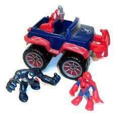 MARVEL Comics Playskool SUPERHERO SQUAD Spiderman & Venom Car toy & figure,