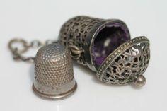 Antique Victorian Silver Chatelaine Thimble Case Velvet Lined Filigree Holder | eBay/$297.00