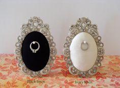 Wedding ring holder oval diamond frame engagement ring by Petite25, $18.00