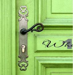 Door handle on green door by Gmomma