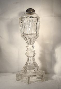 Pressed Gothic Arch Oil Lamp c.1840-50 by GlassLoversGallery