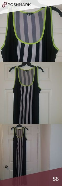 JUST LOVE Striped Maxi dress LIKE NEW Women's Striped Maxi dress by Just love, size XL, trimmed in lime green, back and white striped, thin material, ACCEPTING ALL REASONABLE OFFERS, bundle for discounts just love Dresses Maxi