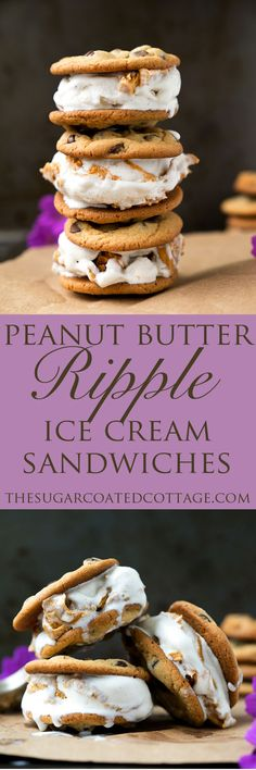 Peanut Butter Ripple Chocolate Chip Cookie Ice Cream Sandwiches - The Sugar Coated Cottage Peanut Butter Desserts, Ice Cream Desserts, Frozen Desserts, Ice Cream Recipes, Just Desserts, Frozen Treats, Ice Cream Cookie Sandwich, Ice Cream Cookies, Chocolate Chip Ice Cream