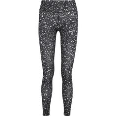 Nike Power Essential printed Dri-FIT stretch-jersey leggings (£52) ❤ liked on Polyvore featuring activewear, activewear pants, calça, leggings, pants, black, nike, nike activewear, stretch jersey and nike sportswear