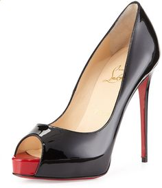 Christian Louboutin New Very Prive Patent Red Sole Pump, Black/Red on shopstyle.com