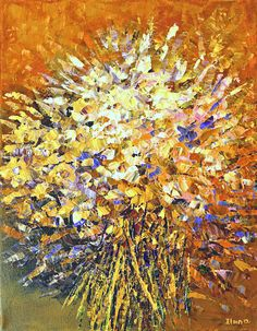 Radiant & Gold, Flower Painting by Tatiana iliina, Palette Knife Original Floral Spring Wild