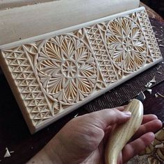Box with new style of chip carving in progress (2016)