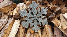 Vintage Style Corrugated Snowflake Metal Sign by RockinBTradingCo