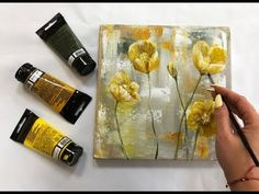 How to draw easy flowers painting / Demonstration /Acrylic Technique on canvas b. How to draw easy Acrylic Painting Tutorials, Acrylic Art, Acrylic Painting Canvas, Canvas Art, Diy Canvas, Painting Art, Paintings, Easy Flower Painting, Flower Art