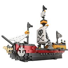 Kteam Building Sets Bricks Educational Toys Brain Flakes Interlocking Plastic Disc Set Pirate Ship Building Blocks Kit Building Toys Corsair Boat Toy Building Kit Constructiton Toys 780 Piece *** More info could be found at the image url.