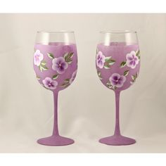 Hand Painted Wine Glasses, Purple Frosted ($25) ❤ liked on Polyvore featuring home, kitchen & dining, drinkware, twin pack, frosted wine glasses, purple wine glasses, frosted wine glass and etched wine glasses