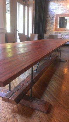 8'x3' Harvest Farmhouse Table Kitchen Island Industrial Farmhouse Bar with Heart Pine Mahogany Iron on Etsy, $1,200.00