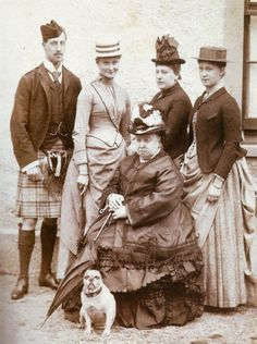 Queen Victoria with Prince Albert Victor, Duke of Clarence, Princess Alix of Hesse (later Empress of Russia), Princess Beatrice and Princess Irene of Hesse