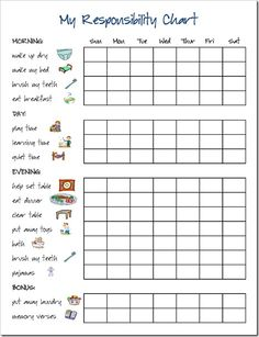 Responsibility Chart Can Change To Fill In Name Of Child Responsible For Your Personal Family Act