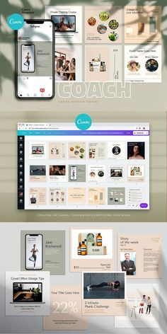 COACH - Canva Instagram Template  Instagram Canva Template for coaches, teachers, food bloggers, podcasters, personal trainers, nutrition experts and entrepreneurs. Featuring eye-candy minimalistic template designs to get your audience and sell your digital offers and courses. Coach Instagram, Instagram Posts, Being Used Quotes, Branding Template, Cosmetic Shop, Checklist Template, Different Fonts, Coaches, Colorful Backgrounds