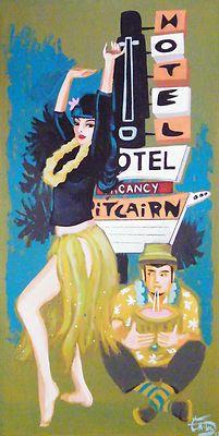 EL GATO GOMEZ Tiki Hula Girl Painting