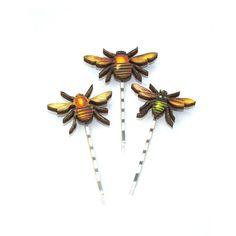 Wooden Bee Bobby Pins Honeybee Hair Grips Girls by LaurasJewellery