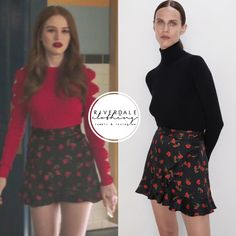 Cheryl Blossom wears these black and red floral print ruffled Zara shorts on Riverdale Tv Show Outfits, Fandom Outfits, Mode Outfits, Girl Outfits, Cheryl Blossom Riverdale, Riverdale Cheryl, Fashion Tv, Fashion Outfits, Veronica Lodge Outfits
