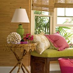 Palette with Punch  Coastlines are filled with surprising colors that inspire and delight us, like bougainvillea pink and palm frond green. So there's no need to shy away from these Technicolor choices when decorating