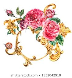 Watercolor golden baroque floral curl and red roses round frame, rococo ornament. Natural gold scroll, leaves isolated on white background. Watercolor Illustration, Watercolor Paintings, Baroque Pattern, Rococo Style, Vintage Greeting Cards, Art Logo, Vintage Paper, Vintage Patterns, Flower Art