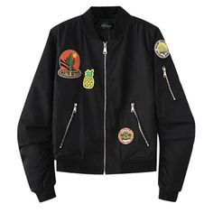 Eforward Women Bomber Jacket Classic Patches Short Biker Coat Flight Jacket M Black -- Awesome products selected by Anna Churchill