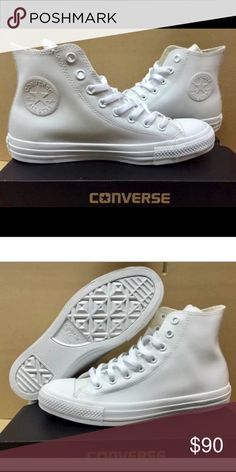 White Converse unisex high tops. Size 5 in women. Clean, new and never worn white high top Converse shoes. Retail $190 plus tax. Great with jeans. Converse Shoes Athletic Shoes