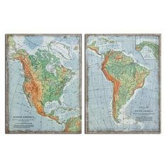 The Americas Wall Art-Set of Two -