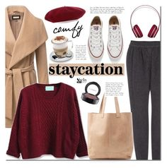 """Cozy Staycation Style"" by mada-malureanu ❤ liked on Polyvore featuring Vanessa Bruno Athé, Converse, Oasis, Aroma, Beats by Dr. Dre, Gucci, Sheinside, staycation and shein"