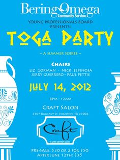 Toga Party Bering Omega- THIS Saturday!!!!
