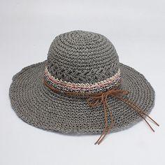 0801529c0464c Womens Solid Color Straw Folding Wide Brim Bucket Cap ravel Visor Panama  Sunshade Hat