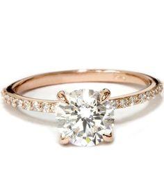 Rose Gold 1 3/4ct Diamond Engagement Ring Solitaire 14 Karat Enhanced
