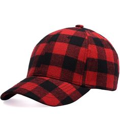 992c376a236 Black and Red Checked Print Baseball Cap Soft Plaid Print Outdoor Hat Cap -  CS188QWTMYZ