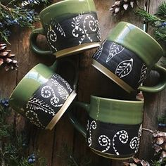 "There's still some mugs available in the ole shop, including these four foliage inspired ""cappuccino"" cups. I've been organizing the studio today and my life so to speak. I'm late to the game but jumping on this bullet journaling craze! Any tips for me? #bulletjournaling #organizemylife #mugshot #busybee"