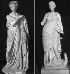 Two classical Muse statues - Polyhymnia: Roman period marble from a villa near Tivoli, now in the Vatican Museums, and Lyre muse: a marble statue of the second century AD, from the Baths of Faustina in Miletus, now in the Istanbul Archaeological museum. Photos: Ashmole Archive, KCL)