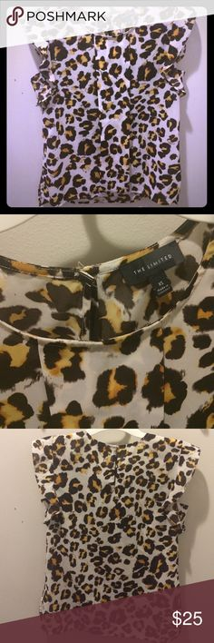 The Limited leopard ruffle sleeve blouse Great condition, just a bit small for my shoulders. Really cute ruffle on the top of each sleeve. The Limited Tops Blouses