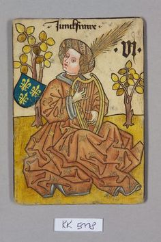 """Playing card, 1455, possibly Vienna. Jungfrau [demoiselle d'honneur], Frankreich aus dem """"Hofämterspiel"""" für König Ladislaus """"Postumus"""" (?) #15thcentury #austria"""