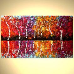 Árbol de abedul colorida pintura textura gruesa paisaje