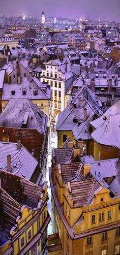 'Blue roofs,' City that is magical every time of the year. Prague, CZECHIA