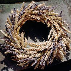 levendula-búzakalász koszorú - Wheat and lavender wreath.