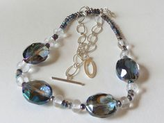 Necklace in Mystic Topaz Lampwork beads and Sterling Silver