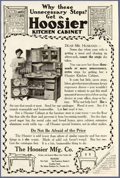 """A must-have for the """"scientific"""" kitchen of the early 20th century.  A Hoosier cabinet, made in New Castle, Indiana"""