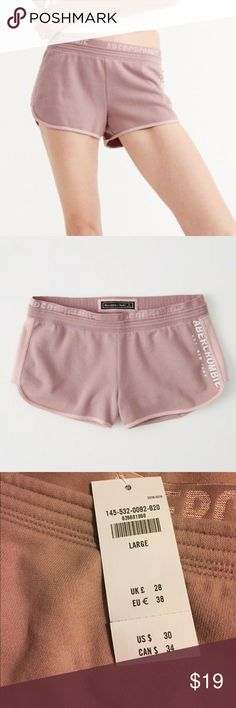 """Abercrombie & Fitch fleece lined shorts Abercrombie active fleece shorts, blush pink shorts with white side logo, shorts feature an elastic waistband with logo, 60% cotton, 40% polyester, 2.5"""" inseam Abercrombie & Fitch Shorts"""