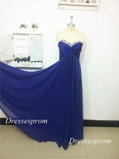 Floor length royal blue chiffon prom dress with por Dressesprom